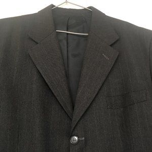 Dark Grey Striped 100% Wool Suit Size 54